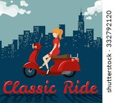 woman riding on red motorcycle... | Shutterstock .eps vector #332792120