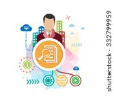 document file and man on... | Shutterstock .eps vector #332799959