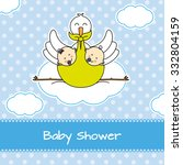 twins baby shower. stork with... | Shutterstock .eps vector #332804159