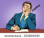 boring report. a man fell... | Shutterstock .eps vector #332804330