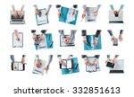 business man hands at work set... | Shutterstock . vector #332851613