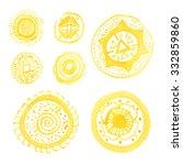 set of yellow watercolor... | Shutterstock . vector #332859860