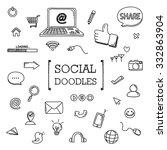 social doodles set | Shutterstock .eps vector #332863904
