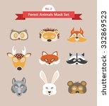 animal mask set  forest animals ... | Shutterstock .eps vector #332869523