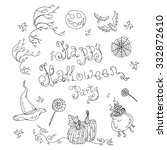 vector card happy halloween... | Shutterstock .eps vector #332872610