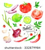 collection of hand drawn... | Shutterstock . vector #332879984