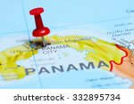 panama pinned on a map of... | Shutterstock . vector #332895734