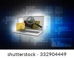 laptop with lock | Shutterstock . vector #332904449
