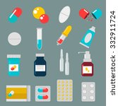 Pills Capsules Icons Vector...