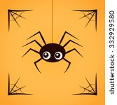 spider with spiderweb isolated... | Shutterstock .eps vector #332929580