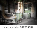 Small photo of air cleaner machine in an abandoned factory building, poor light