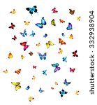many different butterflies ... | Shutterstock . vector #332938904