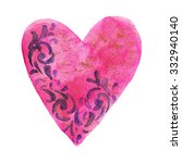 pink watercolor heart with... | Shutterstock . vector #332940140