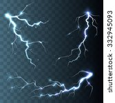 set of  lightnings.  magic and... | Shutterstock .eps vector #332945093