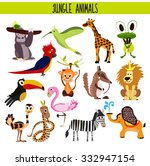 cartoon set of cute animals... | Shutterstock .eps vector #332947154
