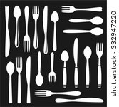 flatware set. knife  fork ... | Shutterstock .eps vector #332947220