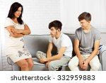 happy family portrait on sofa... | Shutterstock . vector #332959883