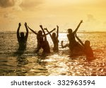 silhouettes of young group of... | Shutterstock . vector #332963594