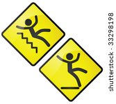 Glossy vector illustration of slippery caution sign, one for stairs and one for wet floor - stock vector