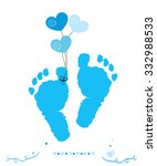 Baby Boy Foot Prints With...