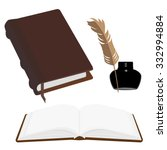 brown old leather book with... | Shutterstock . vector #332994884