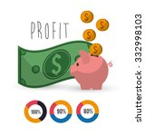 profit  concept with money and... | Shutterstock .eps vector #332998103