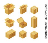 set of cardboard boxes. flat... | Shutterstock .eps vector #332998220