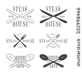 set of vintage restaurant logo  ... | Shutterstock . vector #332998466