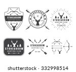set of vintage hunting labels ... | Shutterstock . vector #332998514