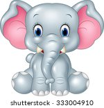 Stock vector adorable baby elephant sitting isolated on white background 333004910