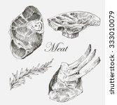 vector steak meat hand drawing... | Shutterstock .eps vector #333010079