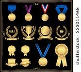 gold award set   shiny gold... | Shutterstock .eps vector #333011468