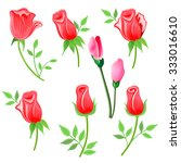 roses   twig with leaves set... | Shutterstock . vector #333016610