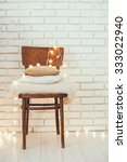 a stack of white and beige... | Shutterstock . vector #333022940