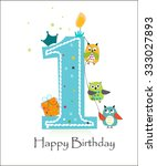 happy first birthday with owls... | Shutterstock .eps vector #333027893