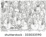 cheerful snowmen. winter  snow  ... | Shutterstock .eps vector #333033590