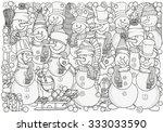 Cheerful Snowmen. Winter  Snow  ...