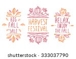autumn elements. hand sketched... | Shutterstock .eps vector #333037790