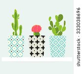 Set Of Cactus Pattern In Pot. ...