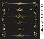 set of golden calligraphic for...   Shutterstock .eps vector #333043184