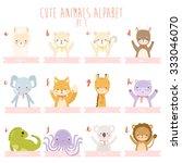 cute cartoon animals alphabet.... | Shutterstock .eps vector #333046070
