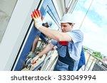 two builders worker installing...   Shutterstock . vector #333049994