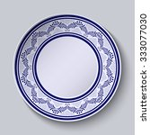 plate with blue ornamental... | Shutterstock .eps vector #333077030