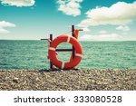 Lifebuoy On A Sea Background...