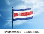 Flag Of Costa Rica On The Mast