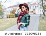 young girl in sunglasses and...   Shutterstock . vector #333095156