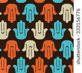 hand of fatima seamless pattern.... | Shutterstock .eps vector #333156776