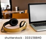 laptop and headphone on working ... | Shutterstock . vector #333158840