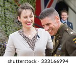 FORT GEORGE, SCOTLAND - AUGUST 8: Unidentified actors in WW2 costume at Fort George, Scotland, 8 August 2015. - stock photo