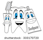 cartoon tooth  toothbrush and... | Shutterstock .eps vector #333170720